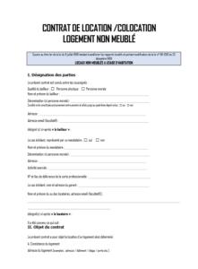 Modele de contrat de location non meublé à télécharger gratuitement