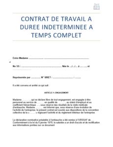 nouveau modele de contrat de travail CDI - 2019