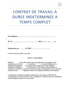 Modele Contrat De Travail Cdi Ou Contrat Indetermine 2021 Modele De Contrat