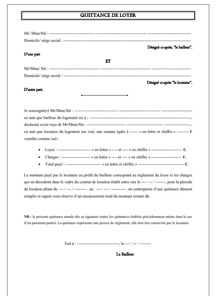 Quittance De Loyer Word Gratuit 2021 Modele De Contrat