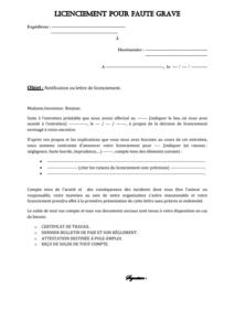 Licenciement Pour Faute Grave Et Indemnite Licenciement Modele De Contrat