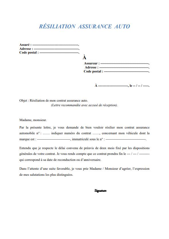 Resiliation Assurance Auto Modele Modele De Contrat