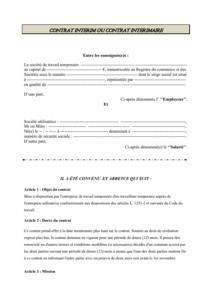 Modele de contrat de mission interim ou intérimaire