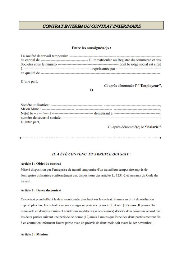 Modele Contrat Interim Ou Contrat Interimaire Modele De Contrat