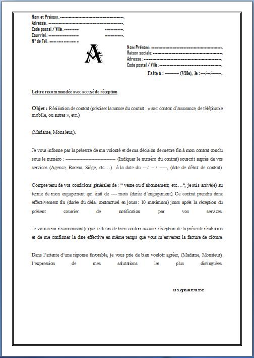 Lettre De Resiliation De Contrat Modele De Contrat