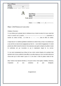 Lettre Resiliation Bail Modele Gratuit Modele De Contrat