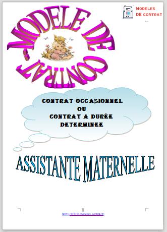 modèle de contrat de travail assistante maternelle